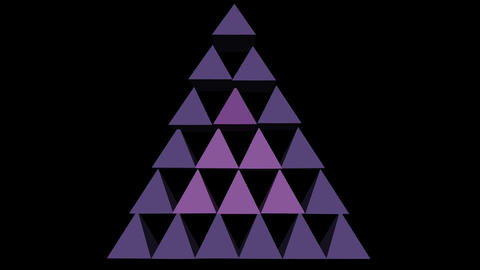 3d purple pyramids abstract video logotype, triangle composed from pyramids, 애니메이션