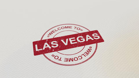 WELCOME TO LAS VEGAS wooden stamp animation. Alpha matte for easy background Footage