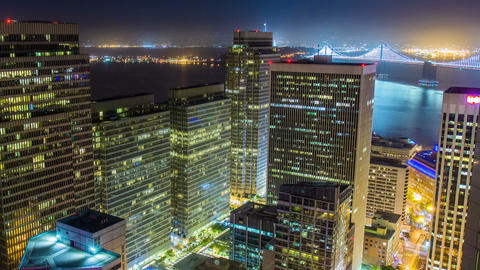 Time lapse- Downtown San Francisco at night Footage