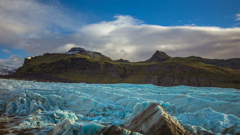 TiTime Lapse - Cloudscape Moving Over Glacier and Mountains in Iceland Footage