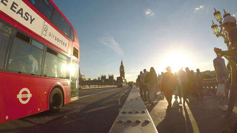 LONDON JULY 2017: Busy tourists people and vehicles on Westminster Bridge on Footage