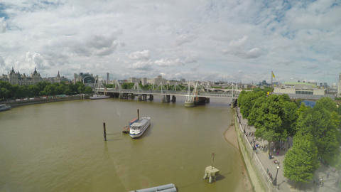 Panoramic time lapse aerial view of London cityscape with Thames river Footage