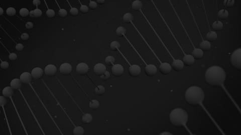 Matt black model of DNA strand on black background Animation