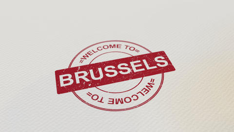 WELCOME TO BRUSSELS wooden stamp animation. Alpha matte for easy background Footage