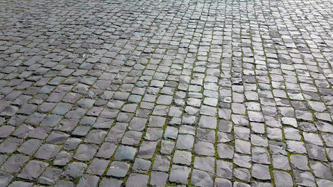 Cobblestones Ground in Rome Italy Footage