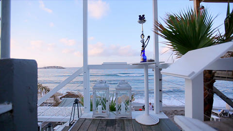 Romantic stay at the hotel located on the beach. View from the hotel terrace to Footage