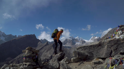 The guy is traveling in the Himalayan mountains Footage