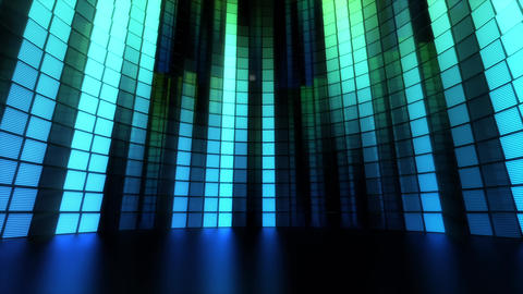 Neon Tiles Light Stage Revolving - Aqua Color - Vertical Lines Animation