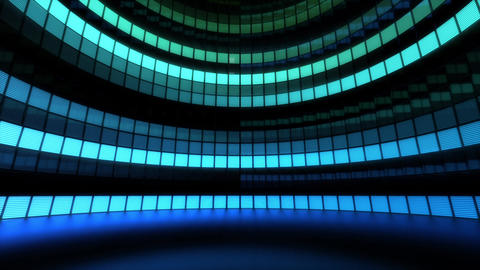 Neon Tiles Light Stage Revolving - Aqua Color - Horizontal Lines Animation