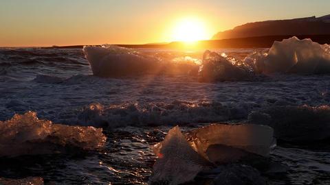 Iceland Black Sand Beach Icebergs 영상물
