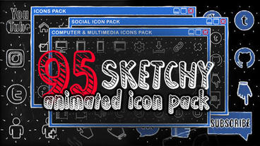 Icon & Button Pack 'SKETCHY'. Bundle 95 elements, social network icons, Youtube After Effects Template
