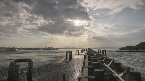 Timelapse of Broken Bridge jetty sunrise with amazing ray and cloud Footage
