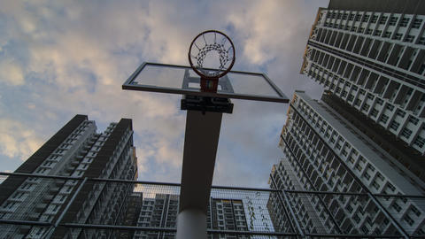 Basketball backboard during sunset hour Footage