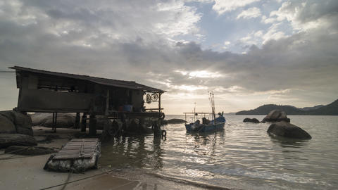Timelapse amazing sunset at Fisherman hut near seaside Footage