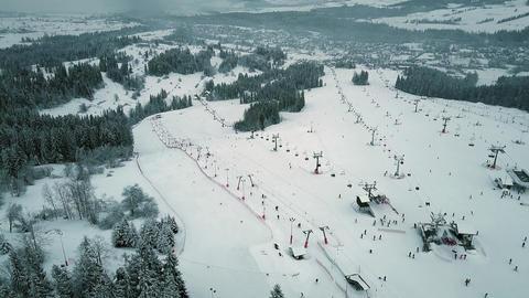 Aerial view of a mountain ski slopes in southern Poland, the Tatra mountains Footage