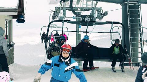 BIALKA TATRZANSKA, POLAND - FEBRUARY 3, 2018. Alpine ski lift or chairlift Image
