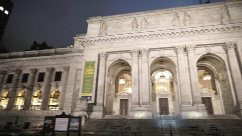 Manhattan public library at night - MANHATTAN, NEW YORK/USA APRIL 25, 2015 Live Action