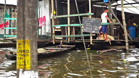 Activity on the Water in Iquitos Footage