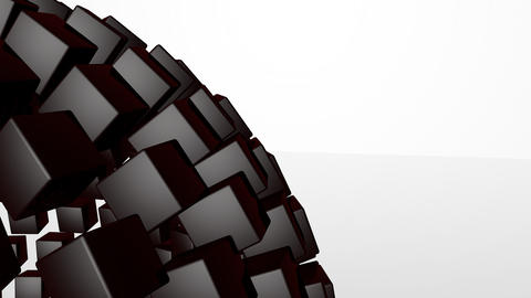 3D abstract advanced technology motion background. Revolving sphere formed by gl Animation