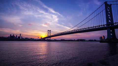 At sunset,the panoramic view of Benjamin Franklin Bridge, philadelphia Footage