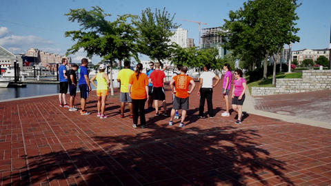 Exercise Team Prepareing For Jogging, Baltimore stock footage