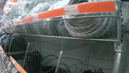 Shelves With Electrical Wires In The Supermarket stock footage