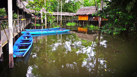 Canoes and Jungle Lodge Footage