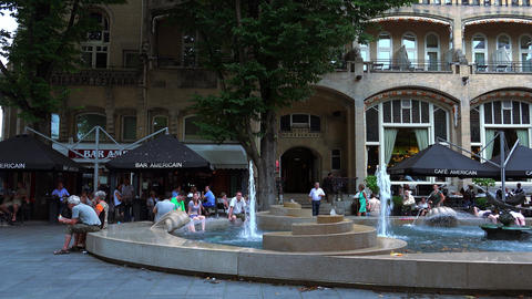 Fountain at Bar Americain Leidseplein Amsterdam City of Amsterdam Footage