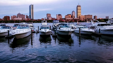 At Twilight,the Panoramic View Of Charles River Near MIT, Boston stock footage