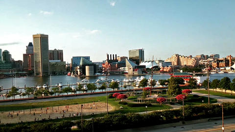 The panoramic view of Inner Harbor from Federal Hill, Baltimore Footage