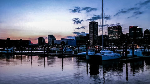 The panoramic view of Inner Harbor at evening, Baltimore Footage