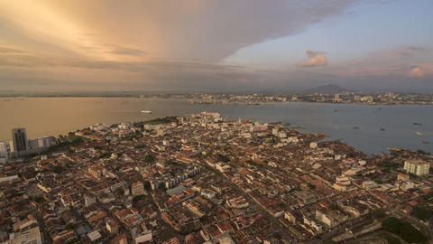 Timelapse UNESCO world heritage site Georgetown city Live Action