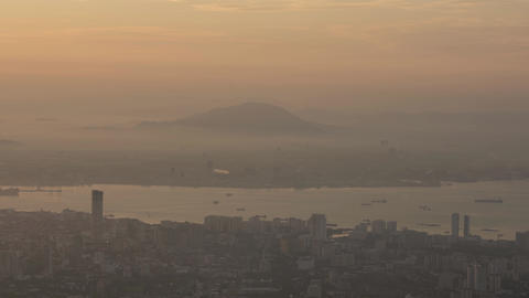 Timelapse Hazy, misty fog of Bukit Mertajam hill view from Penang Hill Live Action