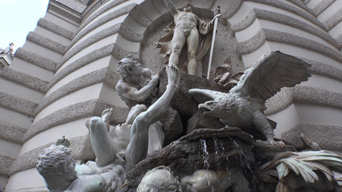 A magnificent fountain at the gate of the Hofburg Palace. Vienna. Austria. 4K Footage