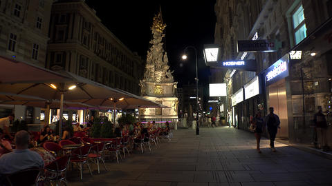 Vienna Plague Column. Holy Trinity Column. Night. Vienna. Austria. 4K Footage
