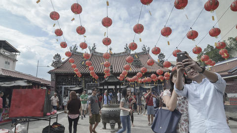 Goddess of Mercy temple decorated with red lantern attract visitors Footage