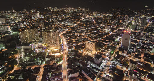 Timelapse aerial view Traffic Of Georgetown city with busy night life Footage
