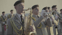 The musicians of the military band play music Footage