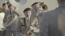 Musicians of the military band play music Footage