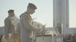 Musicians military band playing music drums Footage