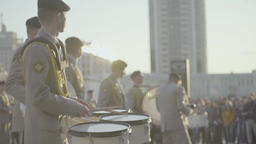 The performance of a military band. Drummers beat the rhythm Footage