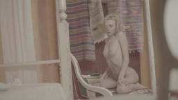 Thin girl without clothes. Nude. Naked. Colorless, flat. Nude Footage