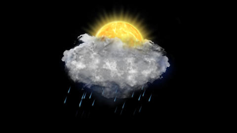Sun Rain Lightning, Weather Forecast Icon with Alpha Channel Animación