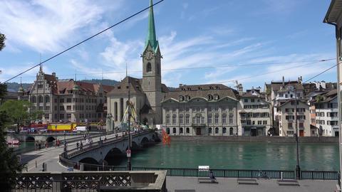 ZURICH, SWITZERLAND - JULY 04, 2017: View of historic Zurich city center, Limmat Image