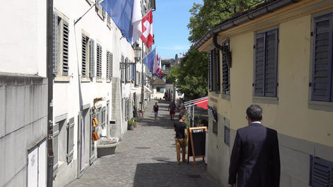 ZURICH, SWITZERLAND - JULY 04, 2017: Citizens and tourists walking on the Footage