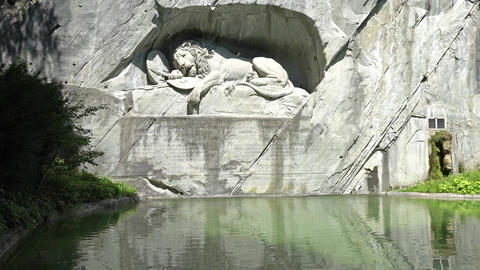 LUCERNE, SWITZERLAND - JULY 04, 2017: Dying Lion monument of Lucerne. It was Footage
