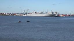 USA Virginia Norfolk berthed warships seen from far 영상물