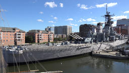 USA Virginia Norfolk berthed museum ship USS Wisconsin in sunlight Footage