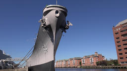 USA Virginia Norfolk bow of USS Wisconsin museum ship and blue sky 영상물