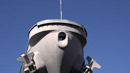 USA Virginia Norfolk blue sky and close up shot of USS Wisconsin bow Archivo